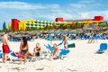 Tourists sunbathing at varadero beach in cuba april the barcelo solymar hotel april with over million visitors is Stock Photography