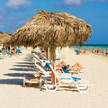 Tourists sunbathing at varadero beach in cuba may vacationers the may with the growing flow of foreign visitors tourism Stock Image