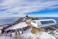 Tourists taking photos of the beautiful scenery and skiing around Deogyusan,South Korea. Royalty Free Stock Photo
