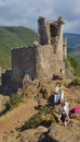 Tourists taking photos lastours castles aude languedoc rousillon Royalty Free Stock Images