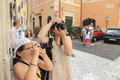 Tourists taking photos in rome a mother and her daughter italy Royalty Free Stock Photos