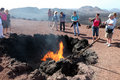 Tourists in Timanfaya, Lanzarote Royalty Free Stock Photos