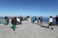 Tourists top rock platform gibraltar Royalty Free Stock Images