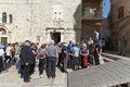 Tourists and tour guide at Church of the holy Sepulchre Royalty Free Stock Photo