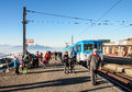 Tourists at train station on the top of Rigi Kulm Royalty Free Stock Photo