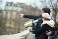 Tourists using telescope sightseeing paris Royalty Free Stock Photos