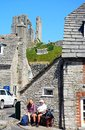 Tourists in the village centre, Corfe. Royalty Free Stock Photo