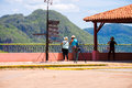 Tourists in Vinales valley, Pinar del Rio, Cuba. Copy space for text.