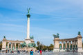 Tourists visit millennium monument budapest hungary sep in heroes square in budapest hungary on september this square has been Royalty Free Stock Photo