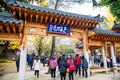 Tourists visit the traditional Korean cottages on Nami Island Royalty Free Stock Photo