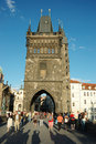Tourists are visiting Charles Bridge in Prague Stock Images