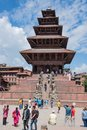 Tourists visiting the historic Nyatapola Temple in Nepal Royalty Free Stock Photo