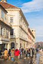 Tourists visiting historical old center brasov romania february on february in brasov romania brasov is one of the main touristic Royalty Free Stock Image