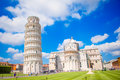 Tourists visiting the leaning tower of Pisa , Italy Royalty Free Stock Photo