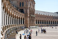 Tourists visiting Plaza de Espana, Seville, Spain Royalty Free Stock Photo