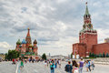 Tourists visiting the red square on july in moscow rus russia st basil s cathedral and kremlin are main attractions of Royalty Free Stock Image