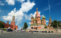 Tourists visiting the red square on july in moscow rus russia st basil s cathedral and kremlin are main attractions of Stock Images