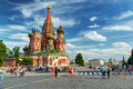 Tourists visiting the red square on july in moscow russia st basil s cathedral and kremlin are main attractions of Royalty Free Stock Photo
