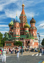 Tourists visiting the red square on july in moscow russia st basil s cathedral and kremlin are main attractions of Royalty Free Stock Photography