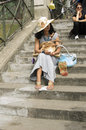 Tourists visiting the sacré coeur paris every year millions of visit and one of most sought after destinations in neighborhood Stock Photos