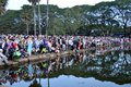 Tourists waiting for sunrise at Angkor Wat temple Royalty Free Stock Photo