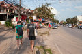 Tourists walk on the street in ao nang thailand dec december thailand is a small resort town and Stock Image