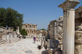 Tourists walk to library of celsus ephesus turkey may down the main street towards the ephesus turkey Royalty Free Stock Image