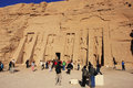 Tourists walking around nefertari temple abu simbel nubia egypt Royalty Free Stock Image
