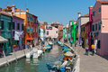Tourists are walking in Burano Stock Photos