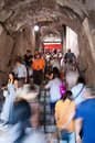 Tourists walking inside colosseum stairs at Rome Stock Image