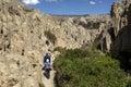 Tourists walking through Moon Valley, La Paz, Bolivia. Royalty Free Stock Photo
