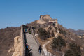 Tourists walkl on the badaling section of the great wall in beij january beijing was initially built for military Royalty Free Stock Photos