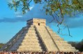 Tourists watching the feathered serpent crawling down the temple (Equinox March 21 2014) Royalty Free Stock Photo