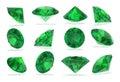 Tourmaline chrome diamonds set on white rendering background Royalty Free Stock Images