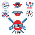 Tournament competition graphic champion professional blue red baseball logo badge sport vector.