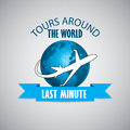 Tours around the world with airplane design blue Stock Photos