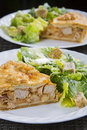 Tourtiere with caesar salad french canadian meat pie from quebec served at christmas Stock Image