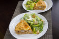 Tourtiere with caesar salad french canadian meat pie from quebec served at christmas Stock Photography
