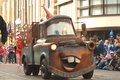 Tow mater from the pixar movie cars in a parade at disneyland california adventure Stock Photos