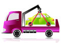 Tow truck with a car Royalty Free Stock Photo