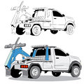 Tow truck drawing an image of a Stock Photo