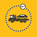 Tow truck icon on yellow background