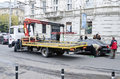 Tow truck in lvov ukraine october after a long break parking lots reopened road on october lviv ukraine Stock Photos