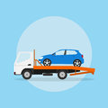 Tow truck picture of the with car on it flat style illustration Stock Images