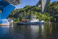 The towage of mv north sea giant has started tug achilles and tug belos have towing through ringdalsfjord in halden norway Stock Images