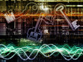Toward digital encryption composition of sine wave key symbol and fractal design elements on the subject of security Stock Photography
