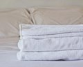 Towel on bed in the bedroom Stock Photography
