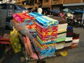 Towel cart selling coloured towels on the streets of pattaya thailand Stock Images