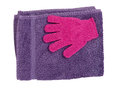Towel and exfoliating glove, lavender colour Stock Photos