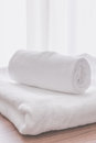 Towel fold in hotel room Royalty Free Stock Photo